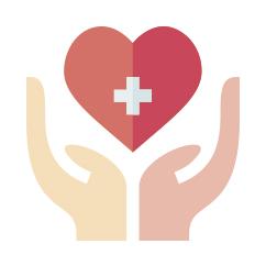 Icono con manos cuidando el corazon